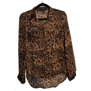 Forever 21 high low Button Up animal print blouse